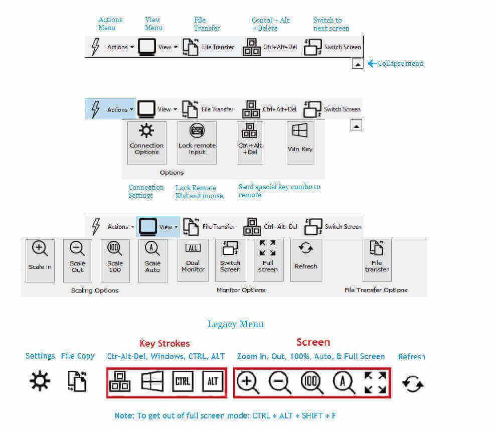 remote desktop menu