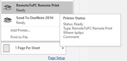 select remote printer