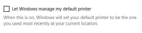 default remote printer